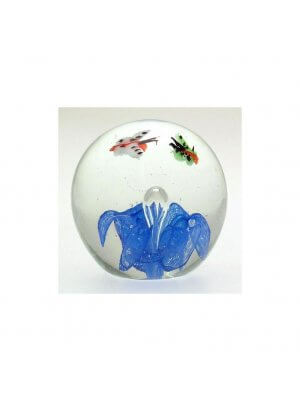 Previously owned blue glass paperweight butterfly design - CLT491