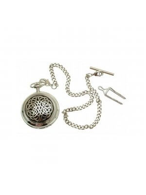 Solid Pewter Fronted Celtic Knot Mother Of Pearl Quartz Pocket Watch