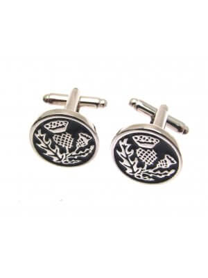 Mens Jewellery - Pewter cufflinks in a wooden presentation box AEW3830000 - Scottish Thistle design