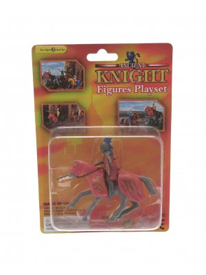 Creative play plastic knight playset on horseback grey horse with pink coat