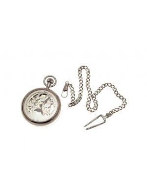 Silver coloured solid brass mechanical skeleton pocket watch with sun and moon and dual time zone features